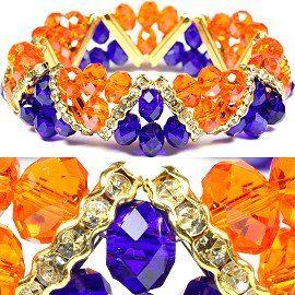 Royal Blue & Golden Orange Faceted Stretch Bracelet Fashion Jewelry Windsor Sterling. $11.95