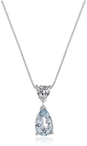 10k White Gold Pear and Trillon-Shape Aquamarine Pendant Necklace, 18″ – Jewelry from Selena