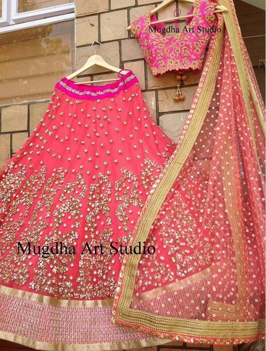 Stones Highlighted Half Sari by Mugdha