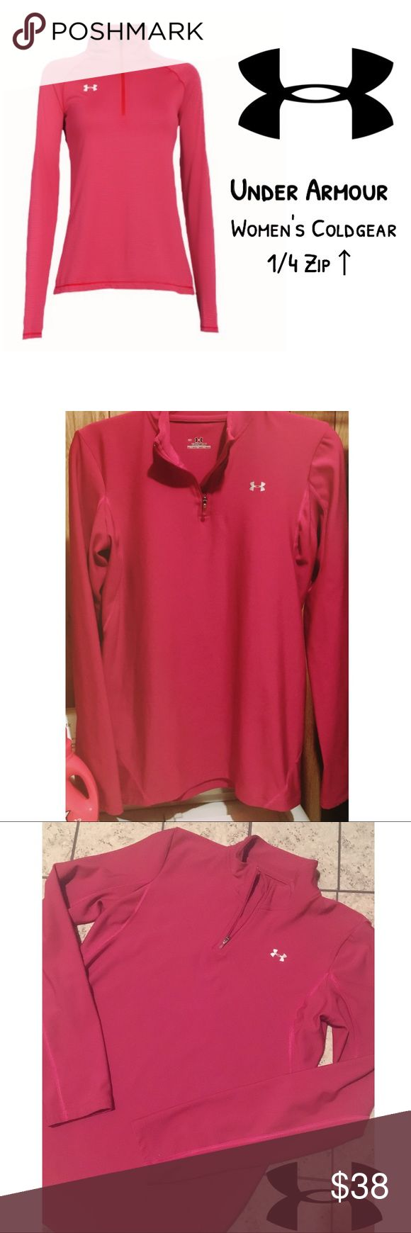 Under Armour Coldgear Long Sleeve 1/4 Zip Up NWOT! Women's UNDER ARMOUR Coldgear 1/4 Zip Up Long Sleeve Fitted Pull Over. Size Large. Color: Pink/Magenta. See Photo for Size Measurements. Under Armour Tops Tees - Long Sleeve