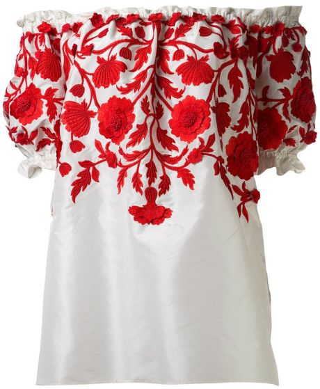 Naeem  Khan  Embroidered Peasant Blouse @Lyst