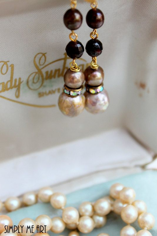 Baroque Pearl Garnet and AB Rhinestone Dangle by simplymeart, $32.00