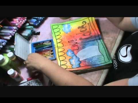 Look at that amazing rainbow background, made with watercolor crayons!!!  Love this; watch her make the whole page! --  Art Journaling {FF}