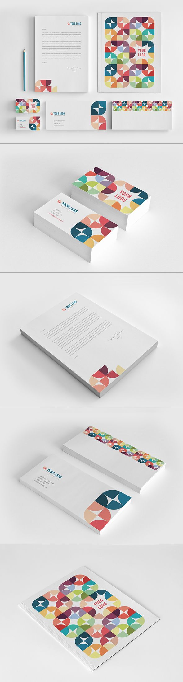 Colorful Circles Pattern Stationery. Download here: http://graphicriver.net/item/colorful-circles-pattern-stationery/10431902?ref=abradesign #design #stationery