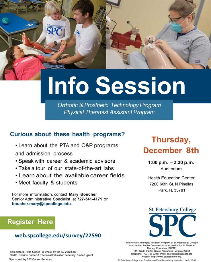 #SPCollege will be hosting an information session Dec. 8 into health-related jobs through the college's Orthotic and Prosthetic Technology and Physical Therapist Assistant associate programs.