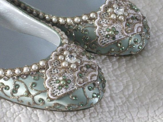 """Cinderella's Slipper Bridal Ballet Flats Wedding Shoes - Any Size - Pick your own shoe color and crystal color by """"BeholdenBridal"""" on Etsy"""