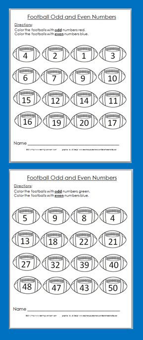 Free Football Odd and Even Coloring Worksheets - Get ready for Super Bowl!