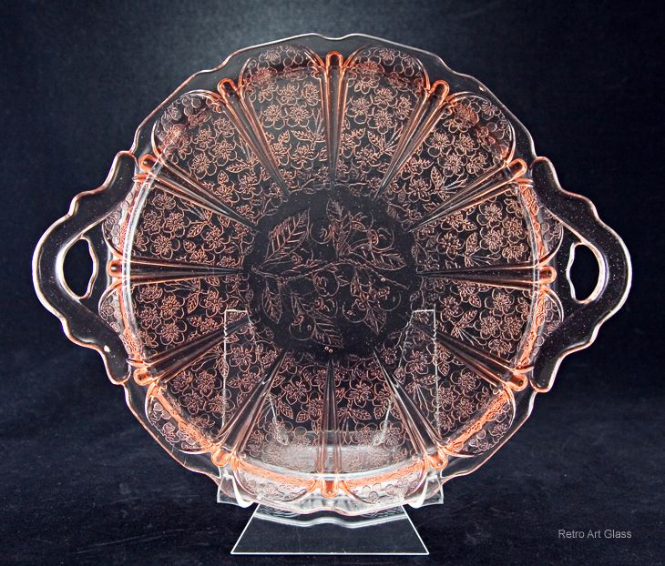 Pink Depression Glass Cherry Blossom Serving Tray