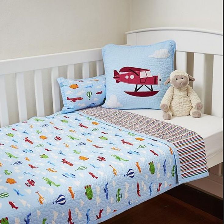 2 Pc Boys Blue Aeroplane Cot Quilt Coverlet Baby Blanket & Cushion 100% Cotton