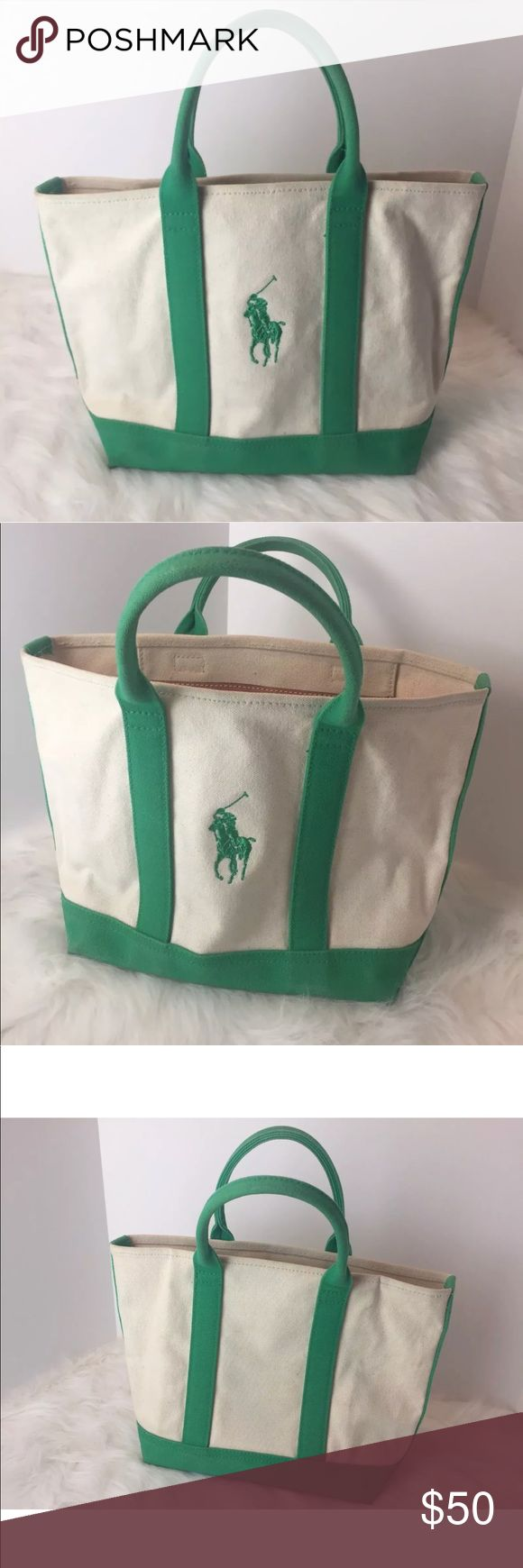 Polo Ralph Lauren Canvas Tote Beach Bag Green This is a vintage Ralph Lauren beach tote bag. It's in great shape displayed in pictures. Very nice for the beach, tote, carry bag. Is tan and green big logo with patched Ralph Lauren pocket with zipper. All included in pictures. Enjoy! Message me with any questions Polo by Ralph Lauren Bags Totes