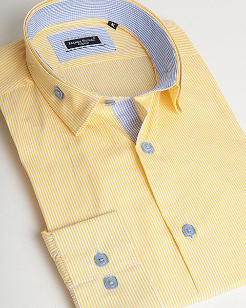 Yellow double collar shirt by Franck Michel