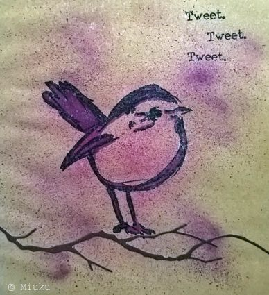 Dina Wakley bird stamp. Mixed media. / lintu leimasin.