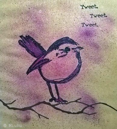 Dina Wakley bird stamp. Mixed media. / lintu leimasin.