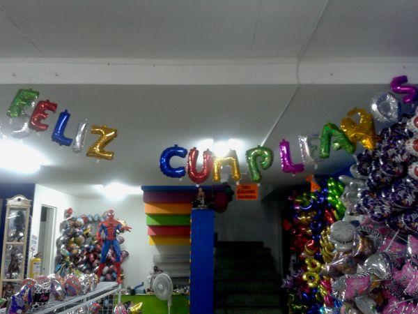 guirnalda globos metalizados feliz cumpleaos colores