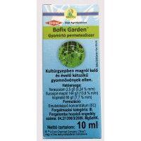 Speciális pázsit gyomirtó szer.  10 ml Bofix Garden 2-3 liter vízbe keverve 50 m2 terület kezelésére elegendő. Hatóanyag:2,5 g/l florasulam + 144 g/l fluroxipir + 80 g/l klopiralid Minden nehezen irtható magról