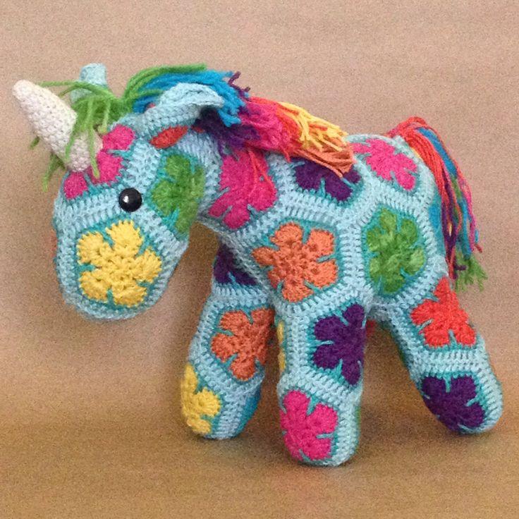 Crochet African Flower Horse Pattern : Custom Handmade African Flower Crochet Unicorn Flower ...