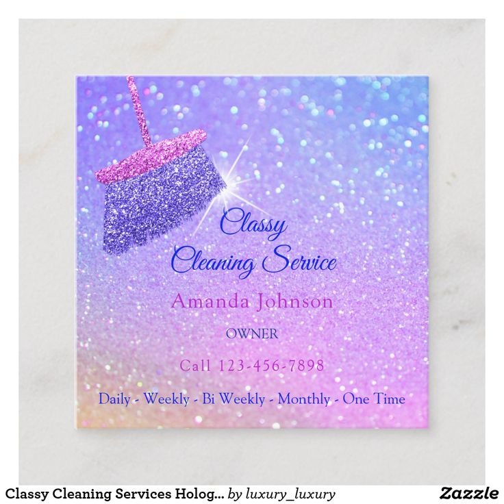 Classy cleaning services holograph blue glitter square