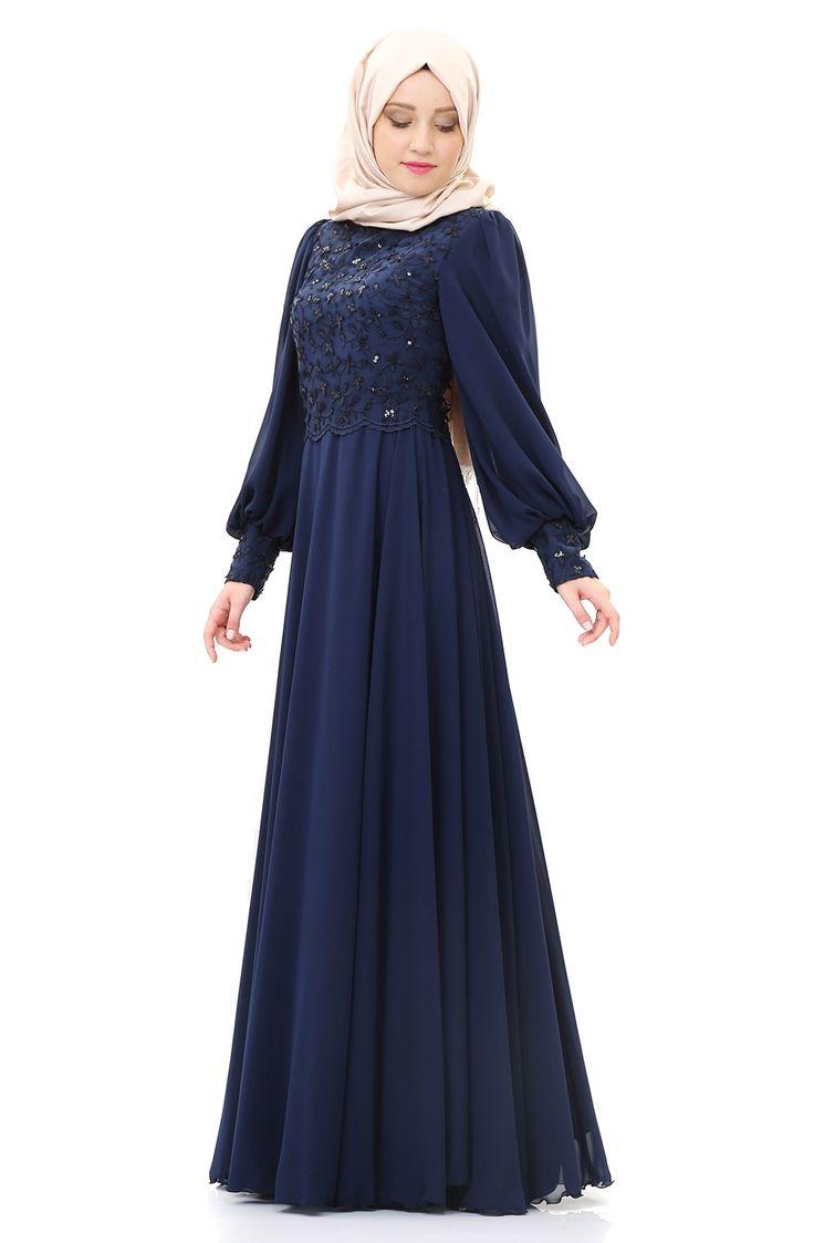 Şifon Etekli Abiye Elbise -Lacivert