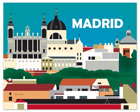 ARTIST INSPIRATION:  This is a dramatic jewel scene of the Madrid skyline. I chose a deep teal blue hovering over the castle and the town. The majestic skyline has a palette of gradient colors that includes, black, grays, brick, and creams with greens. I selected a bold modern font that reads crisp and clear from a distance.  SELECT BETWEEN 3 MATERIALS: 1) Organic cream colored 80 lb. weight, subtle tooth texture, flecked with recycled speckles, 100% recycled post-consumer waste content…