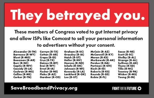 Fight for the Future to unleash billboards to expose Congress members who vote to gut Internet privacy rules