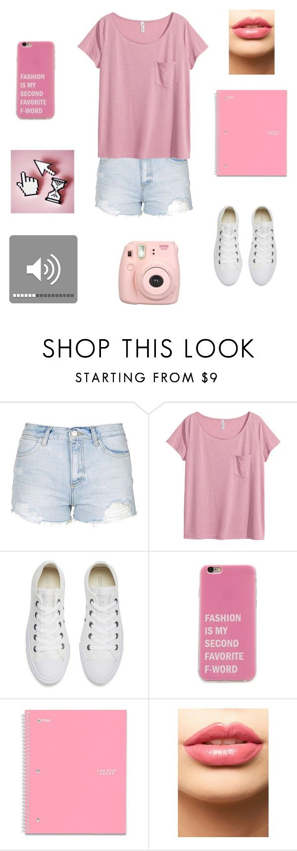 """""""Too pink"""" by panda-stilinski-lol-24 ❤ liked on Polyvore featuring Topshop, H&M, Converse, LASplash and Fujifilm"""