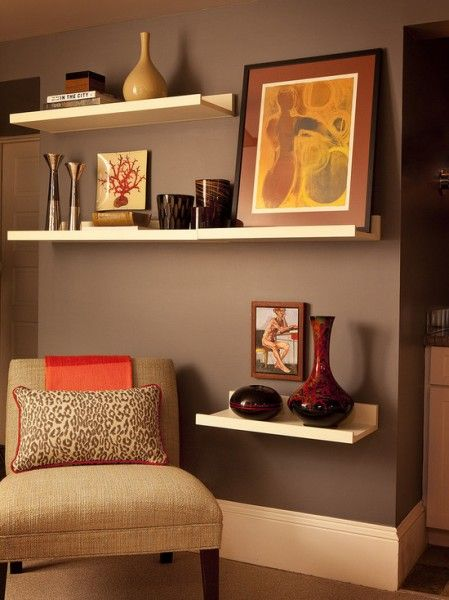 Love this for a little cozy reading area I love the shelves (obviously) don't put books on a shelf unless its specifically a book shelf I would typically also put little tiny knick knacks on it as well as a couple pieces (don't cludder) I suggest too put your books in a small little compact book shelf.