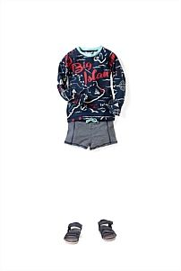 Island Rash Vest and swimming shorts.