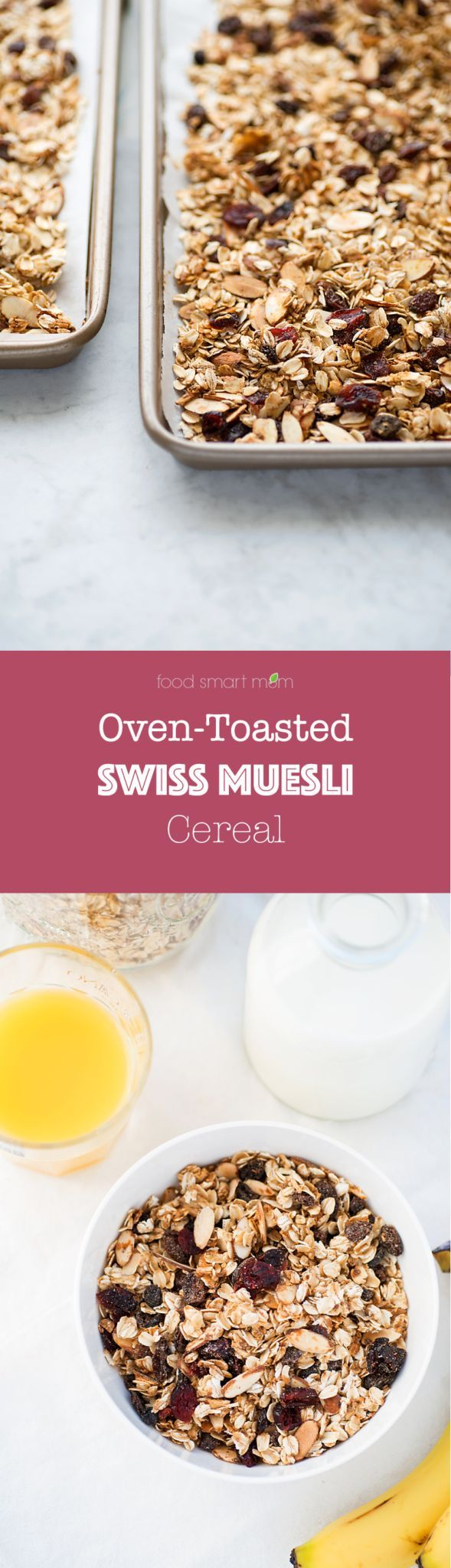 Swiss Muesli. Toasted oats, almonds, flaxseed, sesame seeds, raisins and cranberries create a healthy Swiss muesli cereal that's rich in protein and low in sugar. Serve with yogurt, milk, or juice.