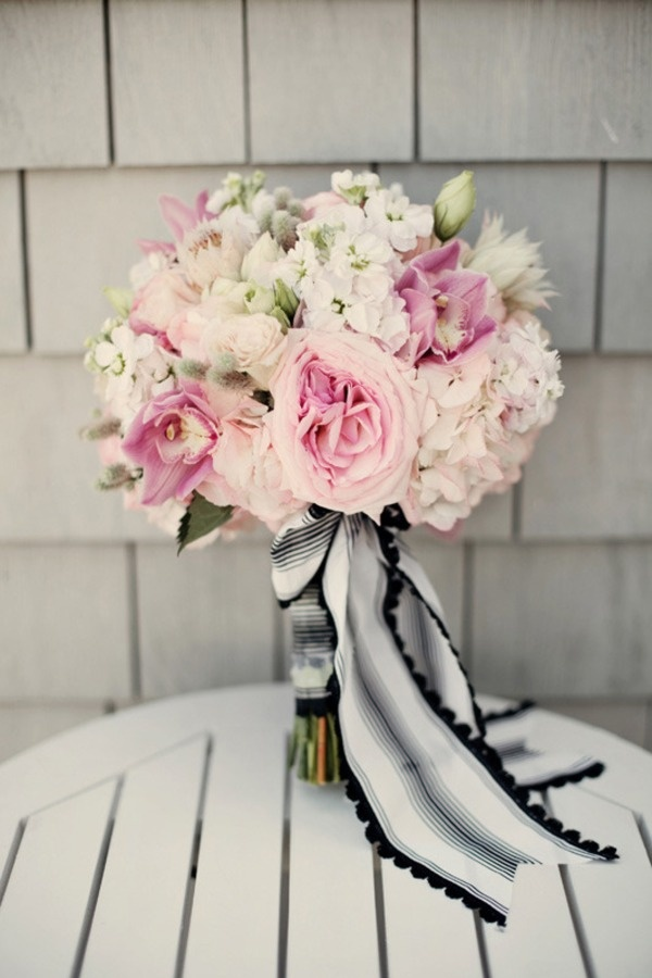 Will do a big ribbon around the base of the bouquet and then lace around that with my broach  Soft and feminine pale pink bouquet with to die for striped