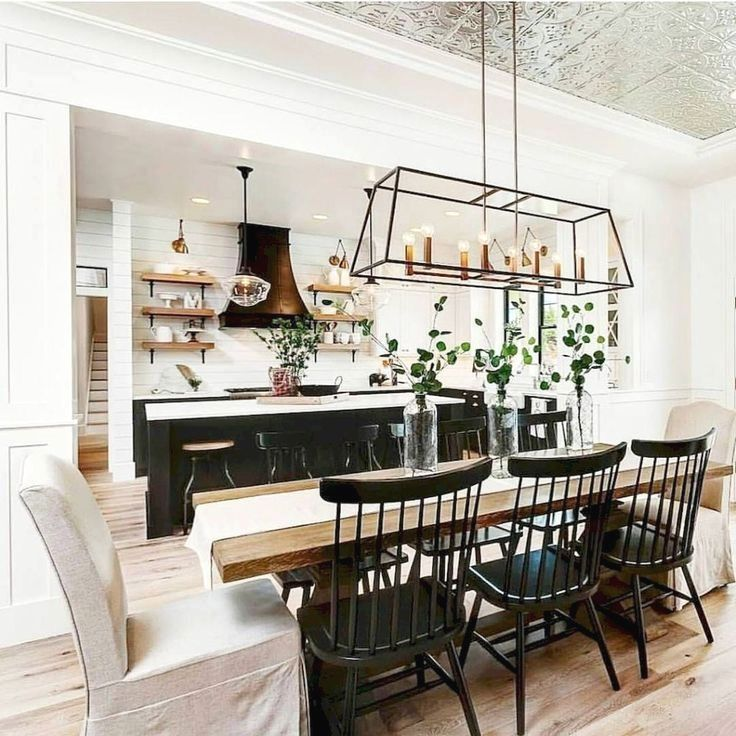 Modern Farmhouse Dining Room With Rustic Dining Room Table Lantern Chandeli Modern Farmhouse Dining Room Farmhouse Dining Room Lighting Farm House Living Room