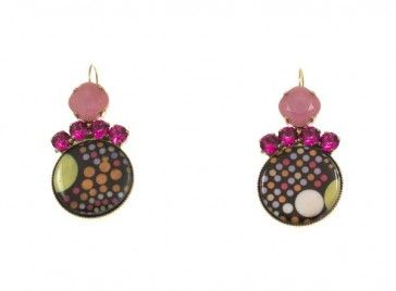 Handmade bronze metal plated earrings with Swarovski strasses and glass stones, by Art Wear Dimitriadis