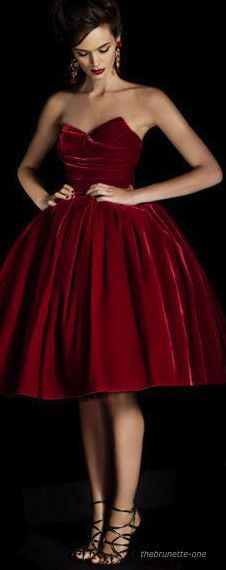 Deep red velvet dress