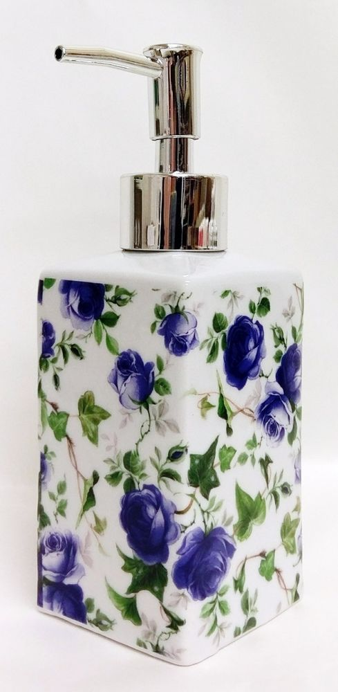 Blue Ivy Rose Soap Dispenser Ceramic Ivy Roses Pump Liquid Hand Decorated in UK #Fromeuropewithlove