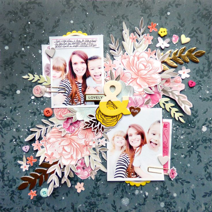Fussy cutting flowers using @pinkpaislee Take Me Away by @paigeevans #scrapbooking