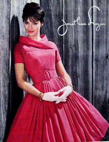 1959 dress 50s 60s vintage fashion style dress full skirt jonathan logan designer dress belt pleats red pink model magazine