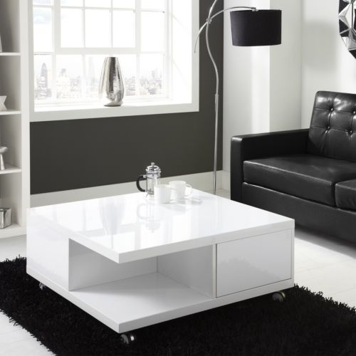 Modern White High Gloss Square Coffee Table With Storage