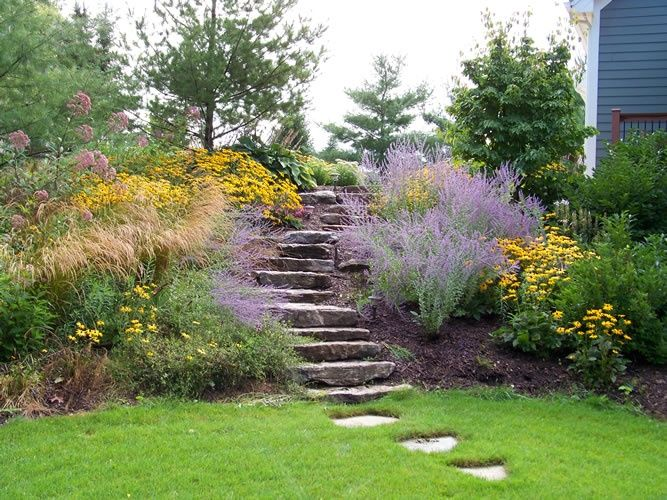 landscaping on a slope ideas (I like how there are a few steps that extend past…