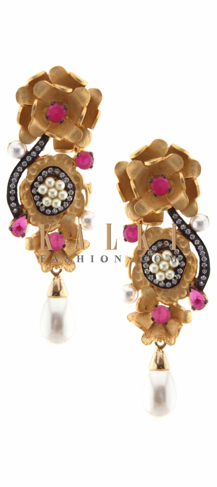 Buy Online from the link below. We ship worldwide (Free Shipping over US$100) Price-$39 Click Anywhere to Tag http://www.kalkifashion.com/gold-earring-featuring-in-floral-motif-with-pearl-dangler-only-on-kalki.html