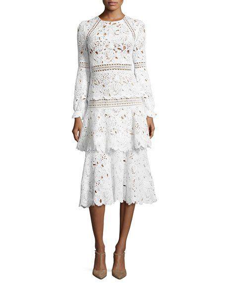 Oscar de la Renta  Long-Sleeve Macrame Midi Dress, White