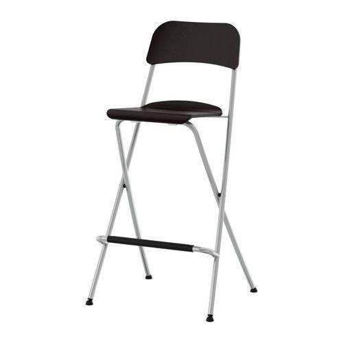 For my craft room: FRANKLIN Bar stool with backrest, foldable, brown-black, silver color brown-black/silver color 29 1/8