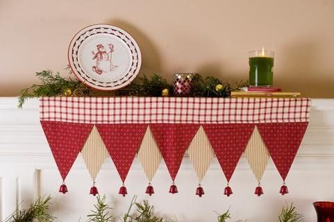 """Home for the Holidays 14"""" x 29"""" Holiday Christmas Shelf Runner by Victorian Heart Co., Inc.. $15.45. Coordinating Christmas stockings, tree skirts, tabletop, and home décor items also available.. 100% cotton.. Measures 14"""" x 29"""".. Embroidered jingle bells, red rick rack, embroidery, and baked apple red windowpane fabrics highlight the classic tones in this pattern."""