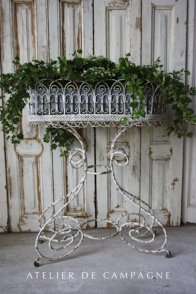 Metal Standing Jardiniere ~~~Mine is nearly identical to this in bare metal. I practically stole it on Craigslist for $5. It is truly gorgeous. Perfect condition.  SVM