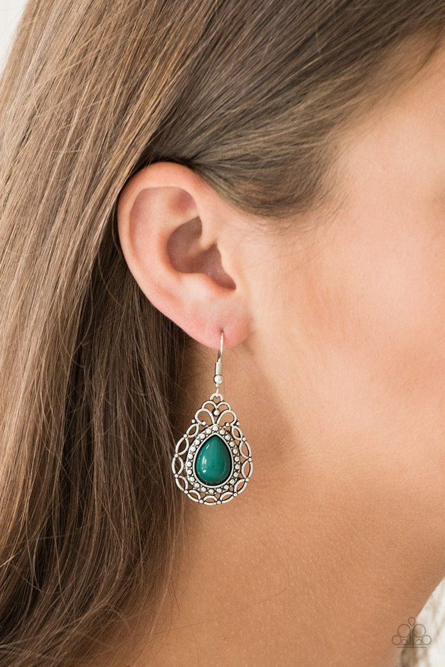 e8046baf2 Paparazzi Accessories: Flirty Finesse - Green | Earrings | Earrings ...