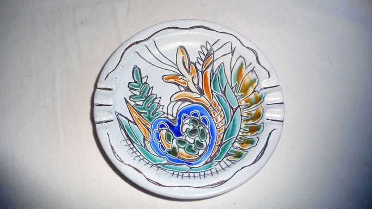 Vintage Portuguese Pottery Ashtray, Hand Painted Ceramic Ashtray, Majolica Ashtray by Grandchildattic on Etsy