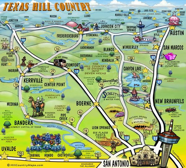 Texas Hill Country Texas Vintage Maps Places