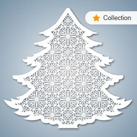 Christmas tree with geometric pattern. Laser Cutting — Stock Vector #124558500