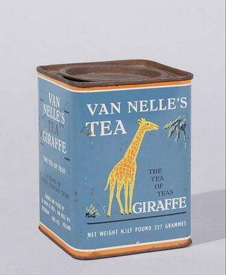 Van Nelle's Tea [Thee] Giraffe tin .. with artwork of giraffe on rectangular shape, inset lid, English text, Holland/The Netherlands