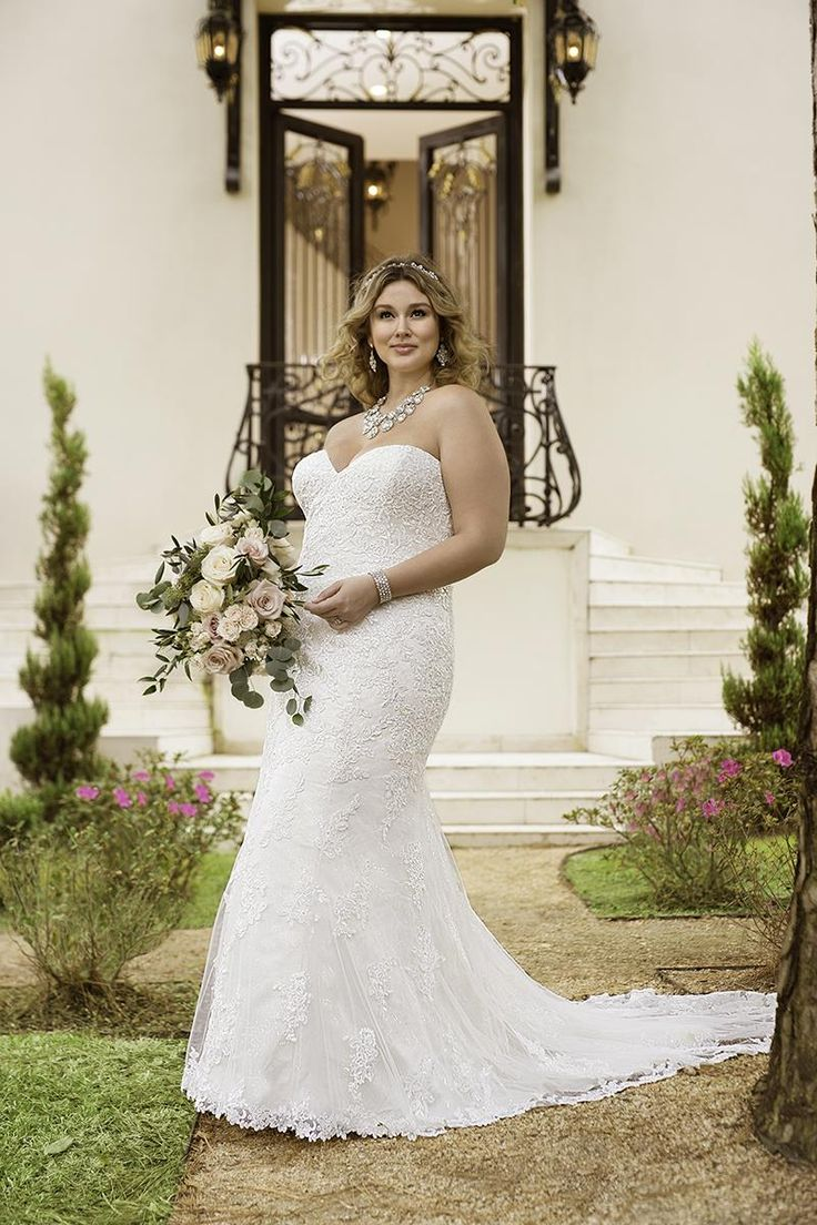 34 best plus size wedding dresses images on pinterest this modified fit and flare plus size designer bridal gown from stella york features romantic beaded lace over satin choose from a corset closure or a ombrellifo Images