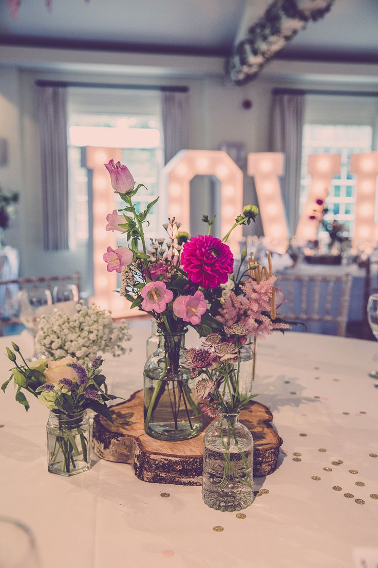 Flowers Jars Pink Dahlia Log Slice Table Decor Centrepiece Relaxed English Country Garden Party Wedding http://hayleybaxterphotography.com/