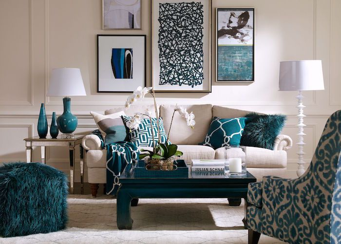 Accessoires De Deco Couleur Bleu Canard Salon Beige Avec Decoration